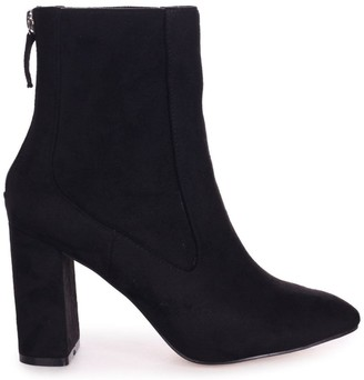 Linzi ONLY LOVE - Black Suede Round Toe Block Heeled Boot
