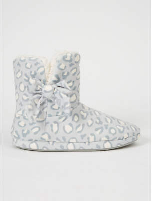 George Grey Leopard Print Borg Lined Slipper Boots