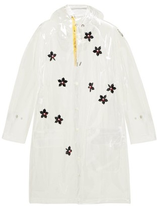Simone Rocha 4 Moncler Perspex-flower Transparent Hooded Parka - Womens - Clear