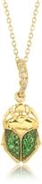 Aurelie Bidermann Tsavorites 18K Yellow Gold Scarab Mini Charm Pendant