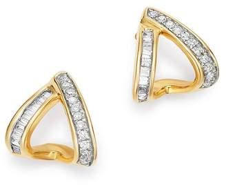 Adina 14K Yellow Gold Heirloom Pavé & Baguette-Cut Diamond Double J Hoop Earrings