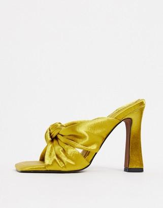 ASOS DESIGN Norbiton satin twist mules in yellow