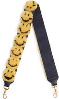 Anya Hindmarch Smiley shearling pompoms bag strap
