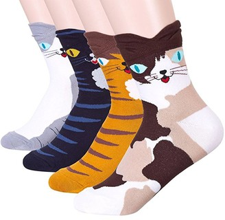 Happytree Womens Ladies Casual Socks - Fun Cool Cats Dogs Cartoon Sweet Animal Design Good for Gift Cat Lovers One Size Fits All (Eyes Cat 4 pairs)