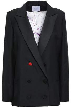 Racil Appliqued Satin-trimmed Wool And Mohair-blend Blazer