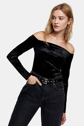 Topshop Womens Black Crushed Velvet Bardot Top - Black