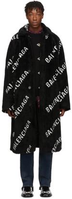 Balenciaga Black Faux-Fur Big Fit Car Coat