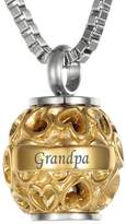 """VALYRIA Hollow Diamond Heart Beads """"Grandpa""""+""""Always in my heart"""" Cremation Urn Necklace Keepsake Ashes Memorial Pendant"""