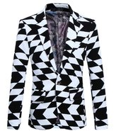 MOGU Mens 1 Button White Black Blazer Sport Coat Jacket US Size 44 (Asian 5XL)