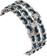 One Kings Lane Vintage Chanel Silver & Blue Bangles, S/3