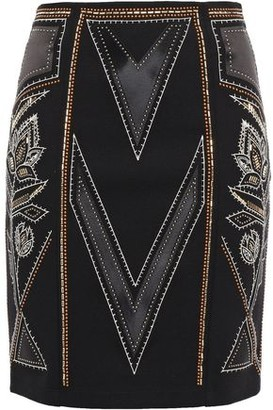 Just Cavalli Studded Embroidered Satin-paneled Stretch-jersey Mini Skirt