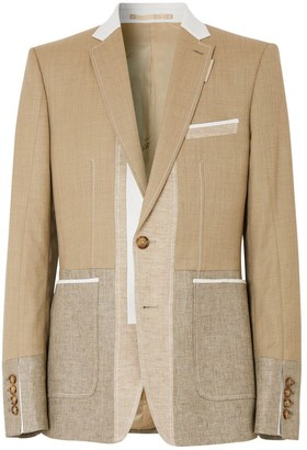 Burberry English Fit Wool Cashmere And Linen Tailored Jacket