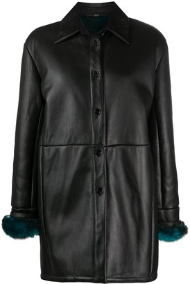 Gianfranco Ferré Pre Owned 1990s Fur-Trimmed Cuffs Leather Coat
