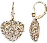 Juicy Couture Drop Earring with Pave Heart and Banner (Gold)