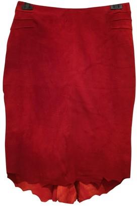 Roberto Cavalli Red Suede Skirt for Women