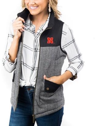 Women's Black Nebraska Cornhuskers Prep For It Herringbone Knit Full-Zip Vest