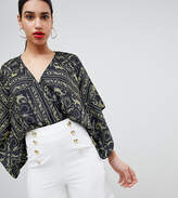 Flounce London Wrap Front Body with Kimono Sleeve in Chain Print