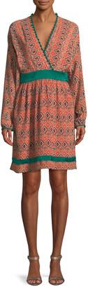 Talitha Collection Almasi-Print Short Kimono Dress with Pompom