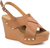 Pierre Dumas Brown Cross-Strap Mighty Wedge Sandal