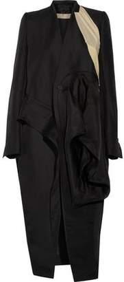 Rick Owens Candy Crepe De Chine-paneled Gathered Silk-gabardine Coat
