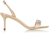 Giuseppe Zanotti Powder Pink Satin and Patent Leather Mid Heel Sandal w/Crystals