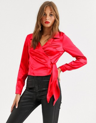 Asos Design DESIGN long sleeve wrap shirt in satin-Red
