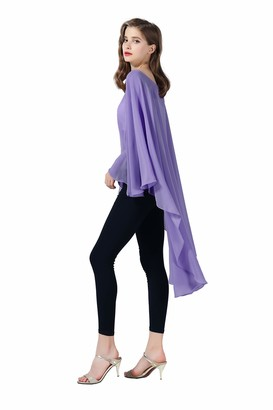 Beautelicate Chiffon Shawl Women Cape Beach Cover Up Summer Tops Bridal Capelet Wraps Wedding Evening Rose