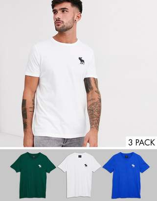 Abercrombie & Fitch 3 pack large icon logo t-shirt in green/white/blue-Multi
