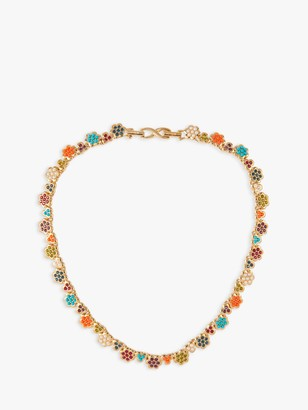 Susan Caplan Vintage D'Orlan 22ct Gold Plated Swarovski Crystal Flower Collar Necklace, Gold/Multi