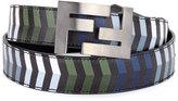 Fendi Double-F Buckle Striped Leather Belt