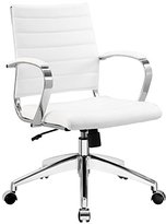 LexMod Jive Ribbed Mid Back Executive Office Chair, White Vinyl