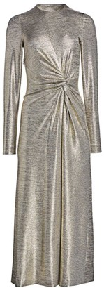 Galvan Metallic Twist Midi Dress