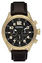 Fossil Men's DE5000 Leather Analog Quartz Watch with Dial