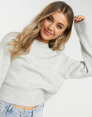 New Look fine knit crew neck jumper in light grey