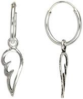 AG Jeans Sterling Jewelry Women's Earrings Silver - Sterling Silver Angel Wing Charm Hoop Earrings