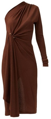 Dodo Bar Or Hanna One-shoulder Pinned Ribbed-jersey Dress - Dark Brown