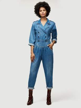 Frame Military Band Pleat Front Jumpsuit