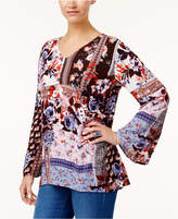 Style&Co. Style & Co Petite Printed Bell-Sleeve Top, Created for Macy's