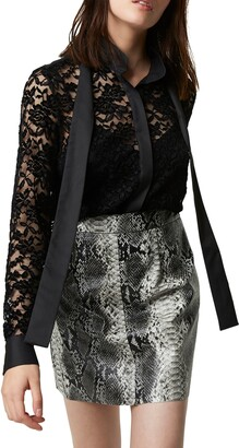 French Connection Baen Sheer Lace Necktie Blouse