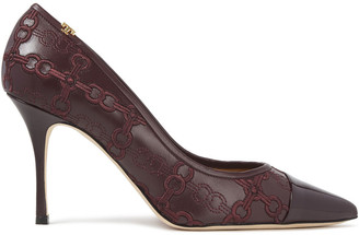 Tory Burch Embroidered Smooth And Patent-leather Pumps