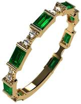 Nana Silver Stackable Ring Baguette Cut Yellow Gold Plated - Size 8 - Simulated Emerald - May Birthstone