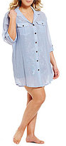 Dotti Plus 3/4 Roll Sleeve Button Front Shirt Dress Cover-Up