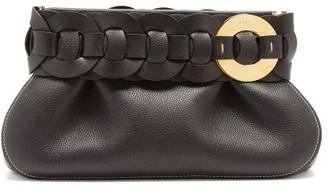 Chloé Darryl Braided Grained-leather Clutch - Black