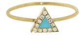Jennifer Meyer Yellow Gold Diamond Turquoise Inlay Triangle Ring