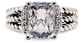 David Yurman Petite Wheaton Ring (White Topaz and Diamonds) - Size 5.5