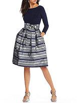 Jessica Howard Metallic Striped Party Dress