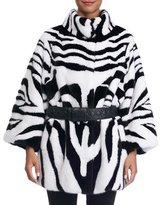 Maurizio Braschi Zebra-Print Mink Fur Coat with Belt