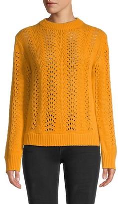 Naadam Lace Pointelle Cashmere Crewneck Sweater