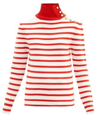 Paco Rabanne Button-embellished Striped Virgin Wool Sweater - Red White