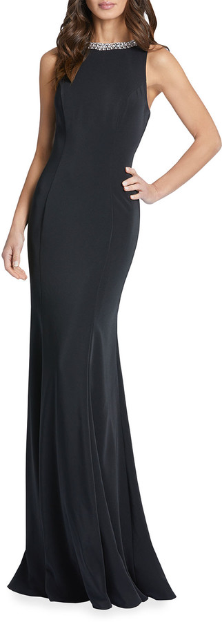 Thumbnail for your product : Ieena For Mac Duggal Beaded Jewel-Neck Sleeveless Gown